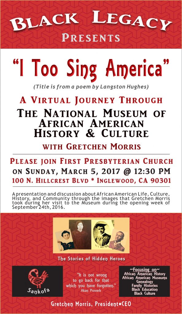 Discussion of the African American journey at First Presbyterian church of Inglewood + National Museum of African American History & Culture
